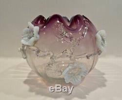 STEVENS WILLIAMS Amethyst Opalescent WithVaseline Glass Applied Flower ROSE BOWL