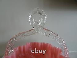 STEVENS & WILLIAMS England Victorian Glass OVERSHOT Crackle BASKET PINK Thorn