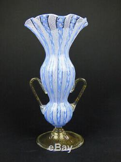 Salviati glass vase blue & white latticino gold leaf Murano Italy Venetian