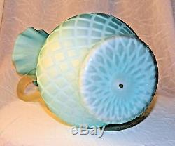 Satin Glass Pitcher Cased Quilted Diamond 9 10