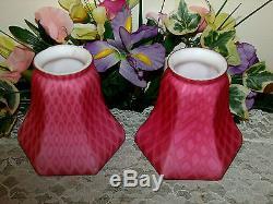 Scarce Victorian Mt. Washington Pink Satin Diamond Quilt Brass Chandelier Lamp