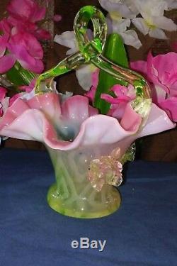 Scarce Victorian Quadruple Diamonds Rubina Verde Vaseline Pink Opalescent Basket