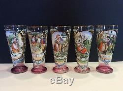 Set Antique Tall Bohemian Czech Enamel Blown Art Glass Pitcher 5 Beakers Goblets