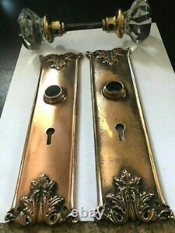 Set Arts Craft Deco Victorian Cast Brass Entry Door Plates Glass Knobs Hardware