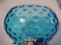 Set of 3 COLORS Victorian Art Glass Kerosene Thumbprint 5 Fish Bowl Lamp Shades