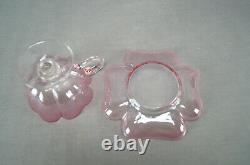 Set of 4 Bohemian Lobmeyr Pink & Clear Quatrefoil Footed Punch Cups & Saucers