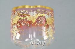 Set of 8 Moser Pale Cranberry Gold & Platinum Floral Quatrefoil Wine Glasses