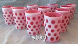 Set of Ten Opalescent White Over Cranberry Coin Dot Tumblers / Lemonade Glasses
