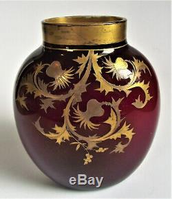 Signed HARRACH 6 OXBLOOD RED Silver Gold ENAMEL Antique BOHEMIAN Art Glass VASE
