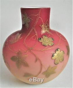 Signed HARRACH 7 PEACHBLOW Silver Gold ENAMEL Antique BOHEMIAN Art Glass VASE