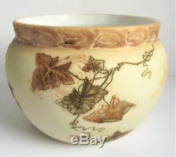 Signed MT WASHINGTON Crown Milano IVY LEAF Gold ENAMEL Antique Art Glass PLANTER