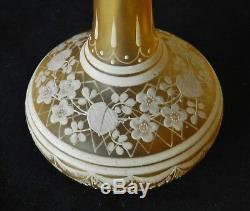 Spectacular c1885 Bohemian Florentine Cameo Glass Bottle Vase Mint Victorian