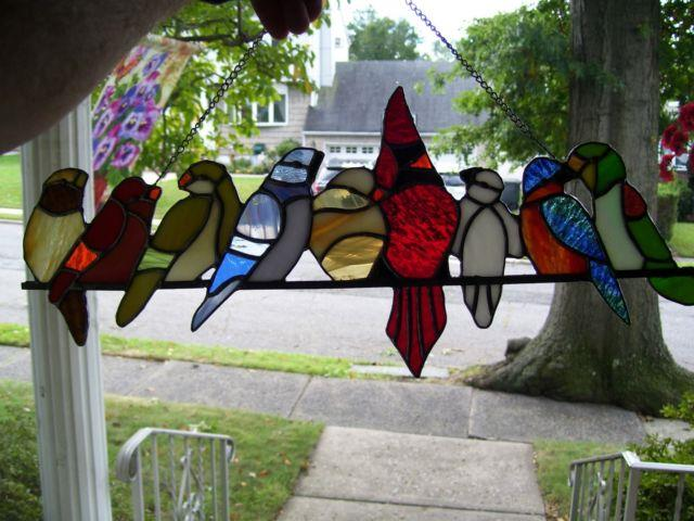Stained Glass Birds On A Wire Sun-catcher (real Glass)