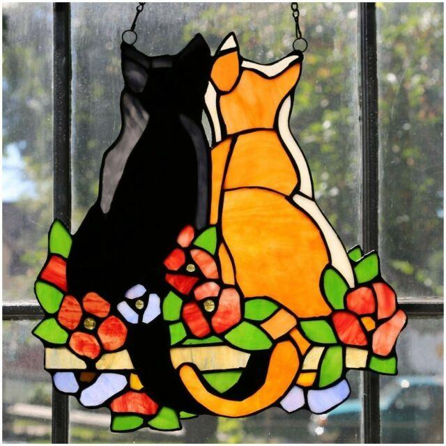 Stained Glass Cats Kitties Window Panel Colorful Hanging Sun Catcher Withchain