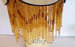 Stained Glass Lamp Shade Slag Beaded 5 Panel Small Antique Victorian Art Nuoveau