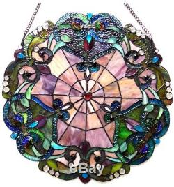 Stained Glass Tiffany Style Victorian Window Panel Round Hanging Wall Art Decor