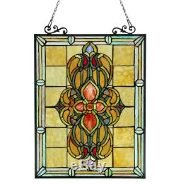 Stained Glass Window Panel Tiffany Style Victorian Hanging Wall Home Art Decor