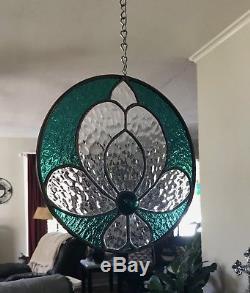 Stained Glass Window Suncatcher Victorian Flower Emerald 9 Round Circle