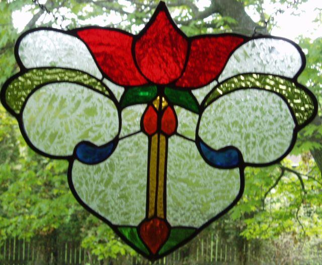 Stained Glass Panel -victorian Flower