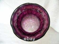 Stevens & Williams ART GLASS FOOTED VASE Amethyst and Clear 15 Tall