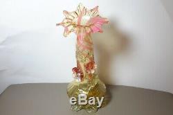 Stevens & Williams Vaseline Glass Jack in Pulpit Vase with Applied Flowers 1890
