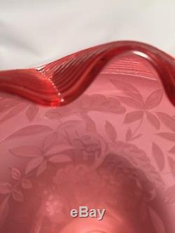 Stevens & Williams Victorian Satin Cranberry Threaded Engraved Etched Vase RARE