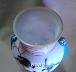 Stunning Antique Moser Opal Glass Vase Applied Teardrops Enameled Birds