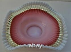 Stunning! Vaseline Opalescent Brides Bowl or Basket Insert, American Ca. 1890