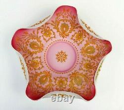 Stunning Victorian 11 enameled design Pink Satin Glass Brides Basket Bowl 4