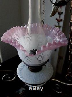 Stunning Victorian 3 Piece Matching Duplex Stourbridge Art Glass Oil Lamp