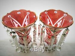 Stunning Victorian era Bohemian Glass Mantel Lusters, White cut to Cranberry