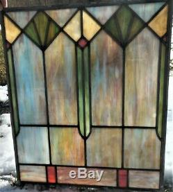 Super Antique Victorian Art Deco Leaded Slag Stained Glass Window