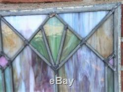 Super Antique Victorian Art Deco Leaded Slag Stained Glass Zinc Framed Window