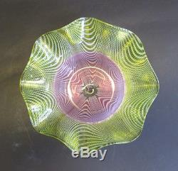 Superb Antique Victorian Art Glass Bowl with Pink & Yellow Feathers c. 1900 Webb