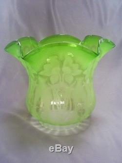 Superb Antique Victorian Art Nouveau Etched/frosted Green Glass Oil Lamp Shade