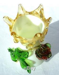 Superb Antique Victorian Opaque Uranium Glass Vase Applied Leaves Berry Harrach