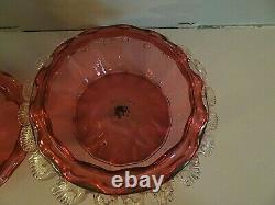 THOMAS WEBB Glass Victorian Ruby Cranberry Applied Rigaree Covered Butter Dish