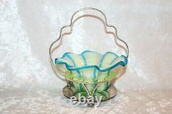 TS Victorian Blue Striped Vaseline Opalescent Candy Dish in Silver Plate Stand