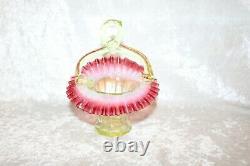 TS Victorian Cranberry & Vaseline Jack in the Pulpit Art Glass Basket