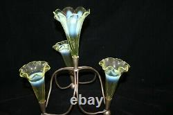 TS Victorian English Vaseline / Uranium Opalescent 4 Horned Epergne in Stand