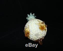 TS Victorian Mt. Washington Coralene Uranium Vaseline Footed Satin Finish Vase