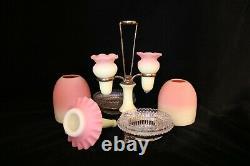 TS Victorian Thomas Webb Burmese Uranium 3 Vase, Double Fairy Lamp Clark Epergne