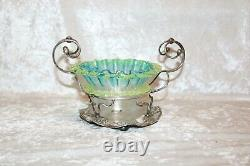 TS Victorian Threaded Vaseline Candy Dish in Silver Plate Stand