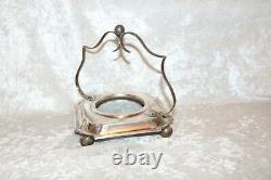 TS Victorian Vaseline Opalescent Webb Candy Dish in Silver Plate Stand