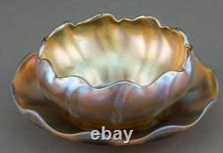 Tiffany Studios Art Glass Finger Bowl & Underplate Gold Iridescent Favrile