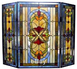 Tiffany Style Fireplace Screen Stained Glass 3 Panel Victorian Folding Art Decor