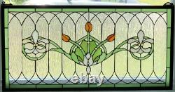 Tiffany Style Stained Glass Window Panel Fleur De Lis 32 x 16 FREE SHIP USA