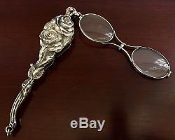 d26297582e2c Unger Bros Sterling Silver Lorgnette Opera Glasses Art Nouveau Victorian  Antique