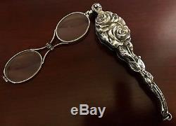 UNGER BROS Sterling Silver LORGNETTE OPERA GLASSES Art Nouveau Victorian Antique