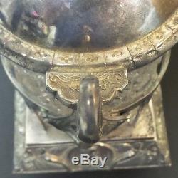 Unusual Victorian Glass Pickle Castor, Silver Plate Stand, Daisy & Button Insert